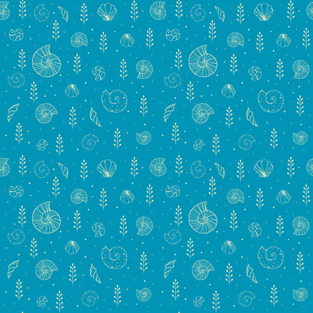 Hand drawn seamless background with silhouettes of sea shells and ammonites.