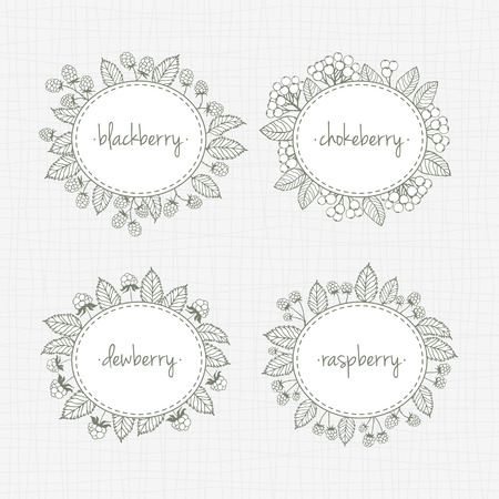 dewberry: set of labels with silhouettes of wild and garden berries and leaves. Illustration