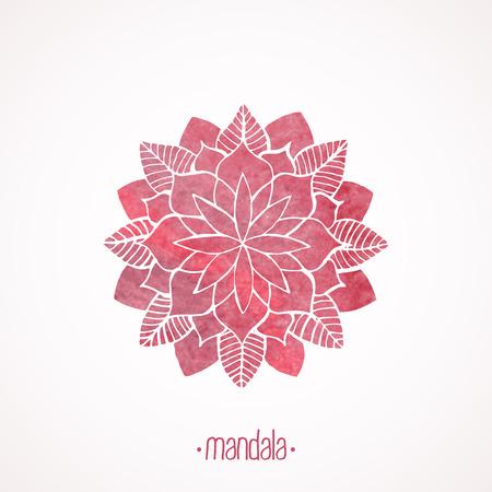Watercolor pink mandala.  Vector