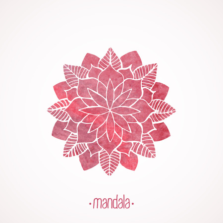 Watercolor pink mandala.  Illustration