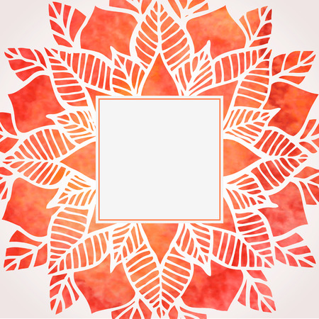 Watercolor red frame with floral pattern. Vector illustration