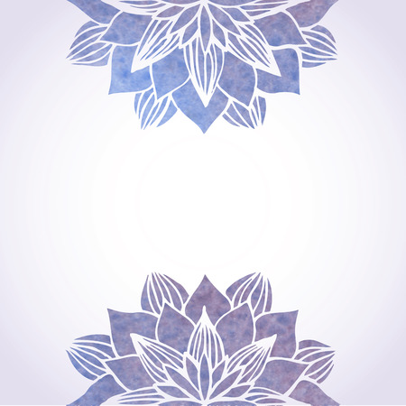 Vector illustration with watercolor violet floral patterns on white background