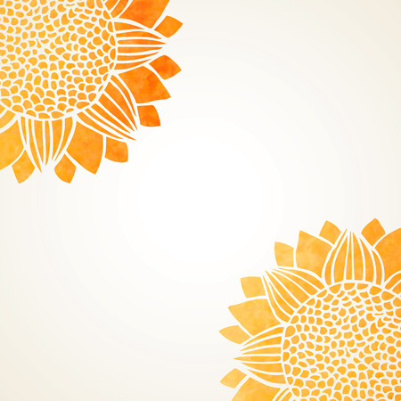 illustration with watercolor sunflowers on white background
