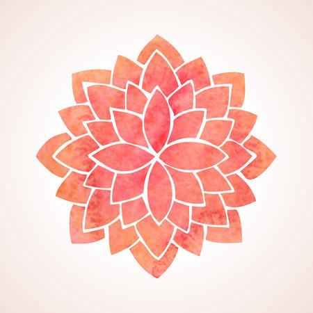 flor de loto: Patrón de flor de la acuarela de loto rojo sobre fondo blanco Vectores