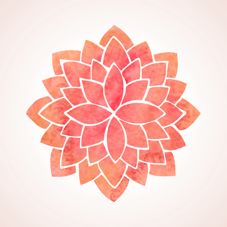 circle flower: Watercolor red lotus Flower pattern on white background