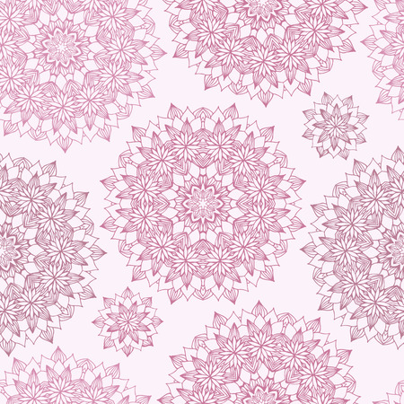 Seamless background with abstract round pink floral pattern