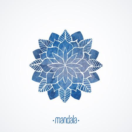 schneeflocke: Aquarell blaue Mandala-Spitze-Blumenmuster auf weißem Hintergrund