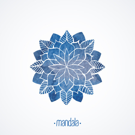Watercolor blue mandala Lace flower pattern on white background Vector