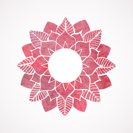 Watercolor pink frame with lace flower pattern isolated on white background