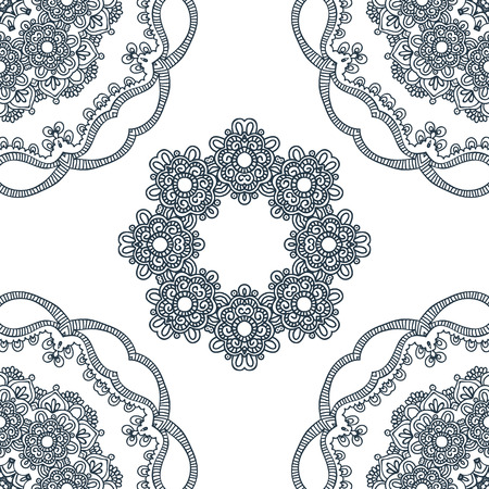 ancient yoga: Seamless background with circle lace patterns. East ornament. Vector pattern Illustration