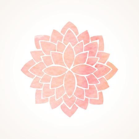 Watercolor pink lotus. Mandala. Indian oriental circled element for design. Flower pattern on white background. Vector illustration