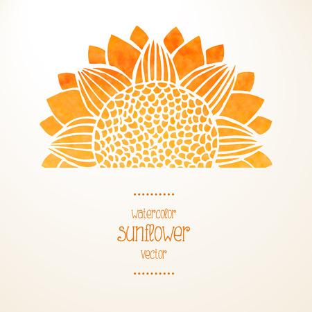 girasol: Acuarela girasol amarillo sobre fondo blanco y el lugar de texto. Soleado tarjeta o invitación. Ilustración vectorial