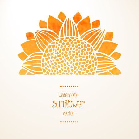 Watercolor yellow sunflower on white background and place for text. Sunny card or invitation. Vector illustration Çizim
