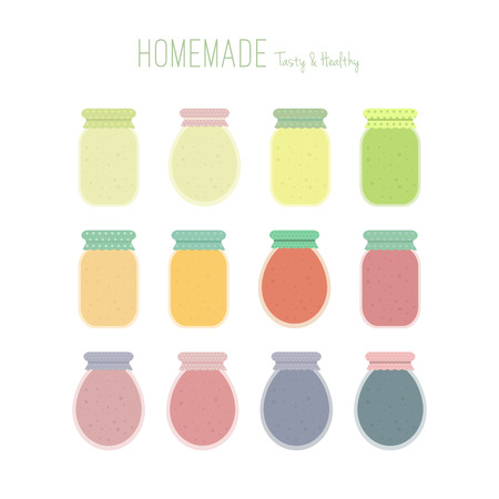 cartoon strawberry: Set of homemade fruit jam or juice jars icons isolated on white background. Colorful mason jars. Vector elements in flat for design Illustration