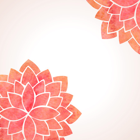 Illustration with watercolor red flowers. Oriental background. Flower pattern on white background. Vector illustration