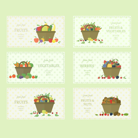 raw food: Set of fruits and vegetables labels. Vector elements of design. Concept farm fresh organic food. Fabric texture and baskets with fruits, vegetables and berries