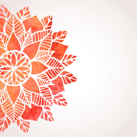 Illustration with red hand drawn watercolor floral pattern. Abstract lace round ornament. Indian, oriental, native ethnic style pattern. Vector background