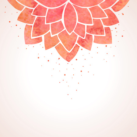 Illustration with watercolor red flower. Oriental background. Flower pattern on white background. Vector illustration