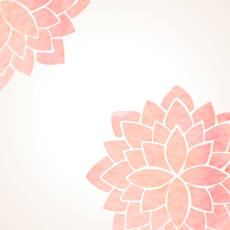 Watercolor pink lotus flowers. Hand drawing floral ornament on white background. Oriental pattern. Vector illustration