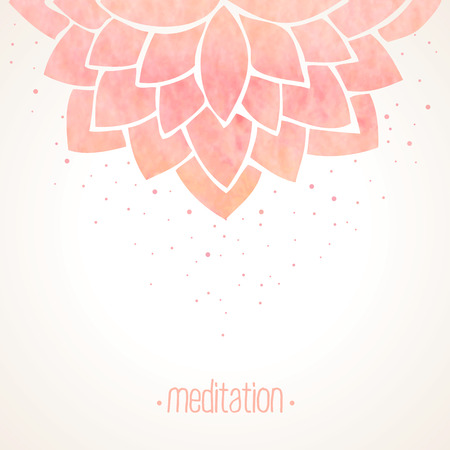 lotus background: Watercolor pink lotus flower. Hand drawing floral ornament on white background. Oriental pattern. Vector illustration