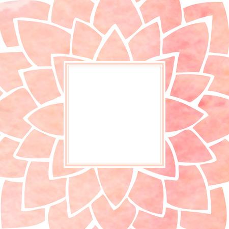 flores chinas: Marco de la acuarela de la flor de loto de color rosa. Gráfico de la mano ornamento floral. Estilo oriental. Ilustración vectorial Vectores