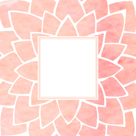 pastel background: Watercolor pink lotus flower frame. Hand drawing floral ornament. Oriental style. Vector illustration