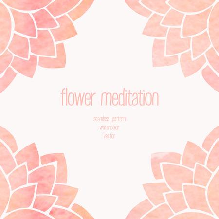 fondo de pantalla: Acuarela de fondo sin fisuras de flores. Dibujo a mano flores de color rosa de loto sobre fondo blanco. Modelo oriental. Ilustración vectorial