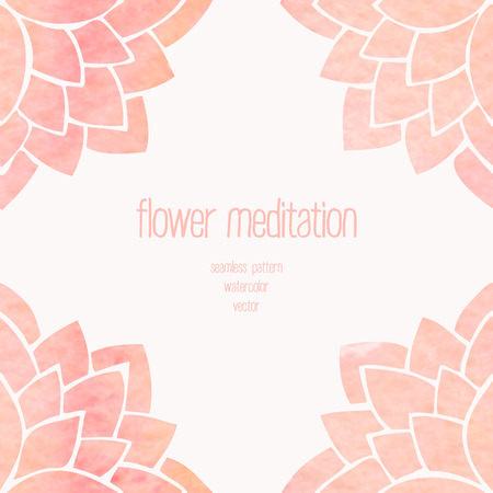 chinese border: Watercolor seamless floral background. Hand drawing pink lotus flowers on white background. Oriental pattern. Vector illustration