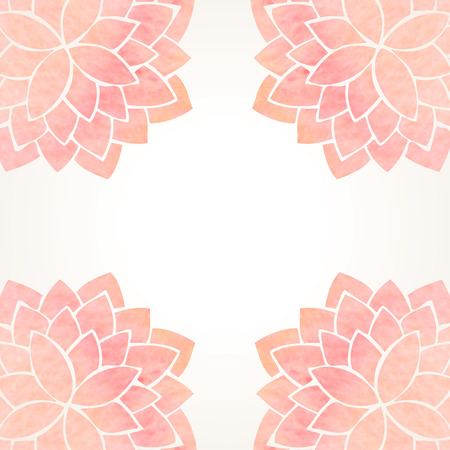 white paint: Watercolor pink lotus flowers. Hand drawing floral ornament on white background. Oriental pattern. Vector illustration