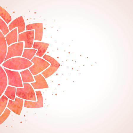 Illustration avec l'aquarelle fleur rouge. Décor oriental. motif de fleurs sur fond blanc. Vector illustration Banque d'images - 41988594