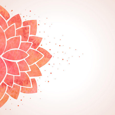 lotus leaf: Illustration with watercolor red flower. Oriental background. Flower pattern on white background. Vector illustration