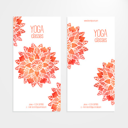 A set of vector templates of business banners. Watercolor red flowers on a white background. Mandalas, round patterns. Yoga, spa and oriental practice and art concept. Flower under the mask and edited