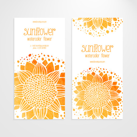 sunflower oil: A set of vector templates of business banners. Watercolor sunflowers, round flower pattern on a white background. Production of sunflower concept. Flower under the mask and edited