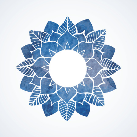 mehendi: Watercolor blue frame with lace flower pattern. Oriental element for design isolated on white background. Vector illustration