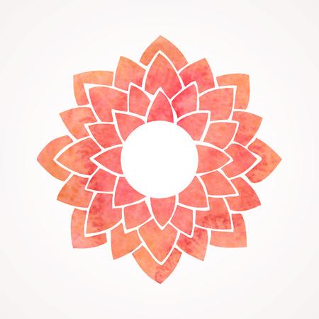Marco de la acuarela con el patrón de flor de loto rojo. Elemento Oriental para el diseño aislado en fondo blanco. Ilustración vectorial Foto de archivo - 41988608