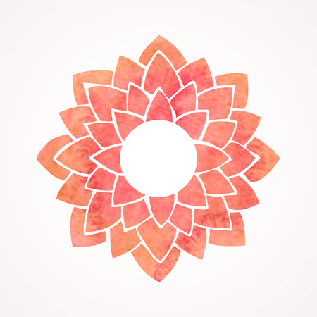 lotus pattern: Watercolor frame with red lotus flower pattern. Oriental element for design isolated on white background. Vector illustration