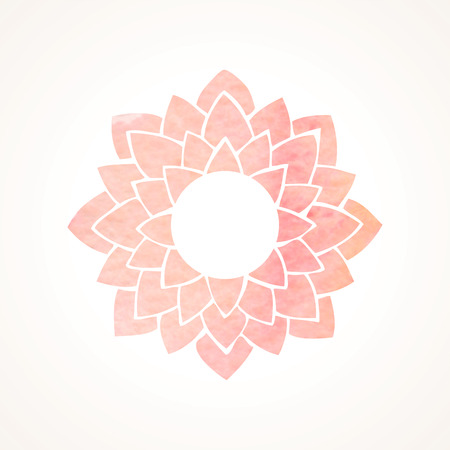 Watercolor frame with pink lotus flower pattern. Oriental element for design isolated on white background. Vector illustration