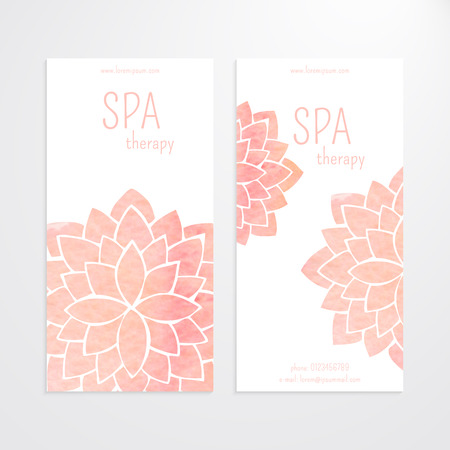 ビジネス バナーのベクトル テンプレートのセット。白い背景の水彩画ピンクの蓮の花。マンダラ。ヨガ、スパ、東洋の実践とアートのコンセプト。
