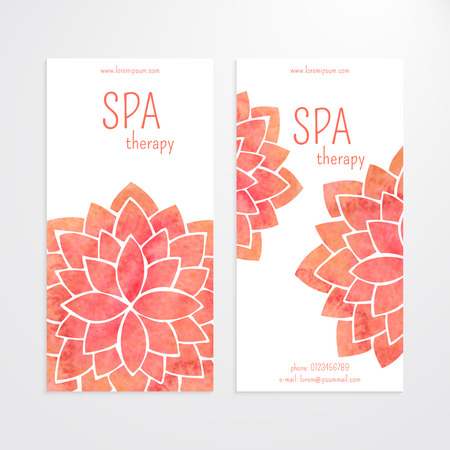 A set of vector templates of business banners. Watercolor red lotus flowers on a white background. Mandalas. Yoga, spa and oriental practice and art concept. Flower under the mask and edited Ilustração