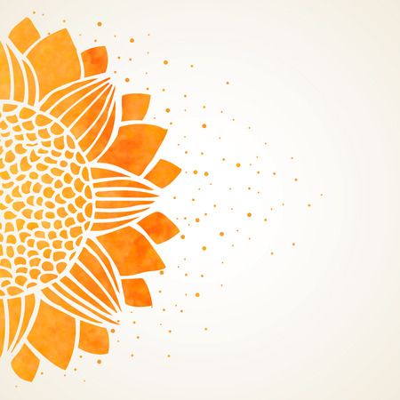 Vector illustration with watercolor sunflower on white background