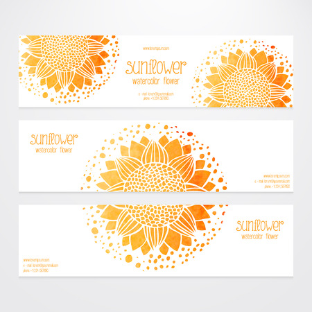 sunflower seeds: A set of vector templates of business banners. Watercolor sunflowers, round flower pattern on a white background. Production of sunflower concept. Flower under the mask and edited