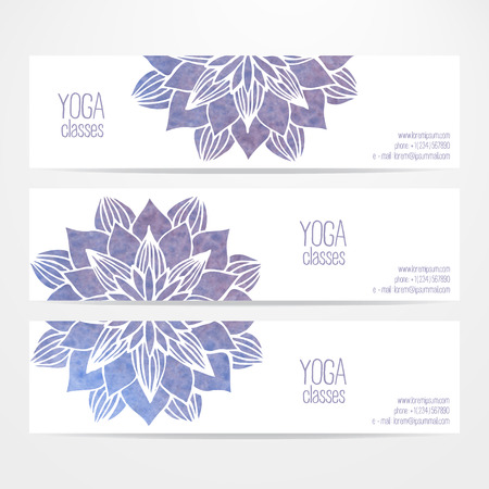 mandalas: A set of vector templates of business banners. Watercolor blue violet flowers on a white background. Mandalas. Yoga, spa and oriental practice and art concept. Flower under the mask and edited