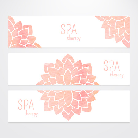 A set of vector templates of business banners. Watercolor pink lotus flowers on a white background. Mandalas. Yoga, spa and oriental practice and art concept. Flower under the mask and edited
