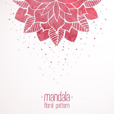 Acquerello rosa cerchiata motivo floreale su sfondo bianco. Fiore sfondo orientale. Illustrazione vettoriale Archivio Fotografico - 41987553
