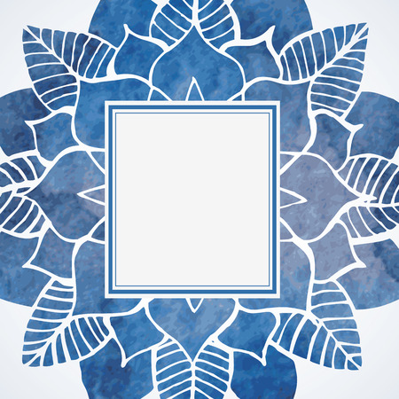Watercolor blue frame with lace flower pattern. Element for design isolated on white background. Vector illustration