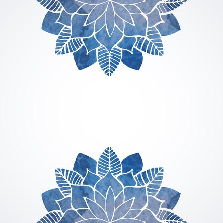 Ejemplo de la acuarela abstracta floral. Copos de nieve azules o flores sobre fondo blanco. Elementos decorativos del vector Foto de archivo - 41985811