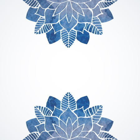 Watercolor floral abstract illustration. Blue snowflakes or flowers on white background. Vector decorative elements