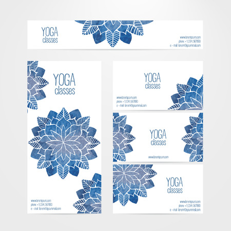 A set of vector banner and business card templates. Watercolor blue abstract flowers on a white background. Yoga and spa theme