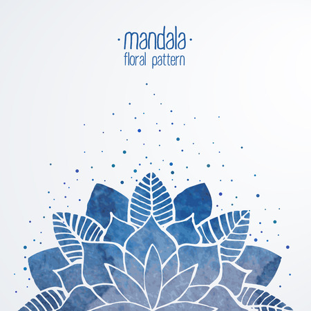 mandala background: Watercolor floral abstract illustration. Blue flower decorative element. Vector background