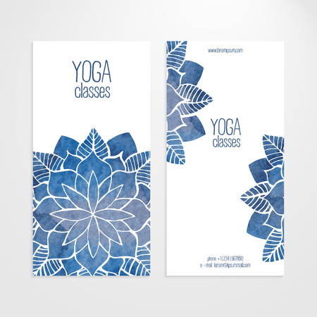 A set of vector vertical banners templates. Watercolor blue abstract flowers on a white background. Yoga and spa theme Illustration